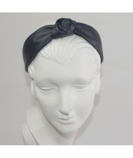 Navy Leather Center Knot Turban