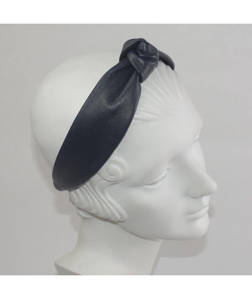 Navy Leather Center Knot Turban