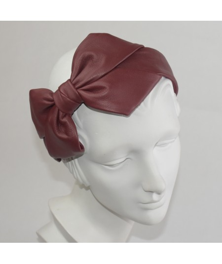 Red Leather Carolina Bow Headband