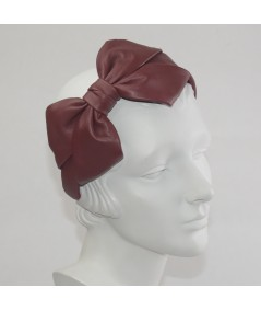 Red Leather Carolina Bow Headband