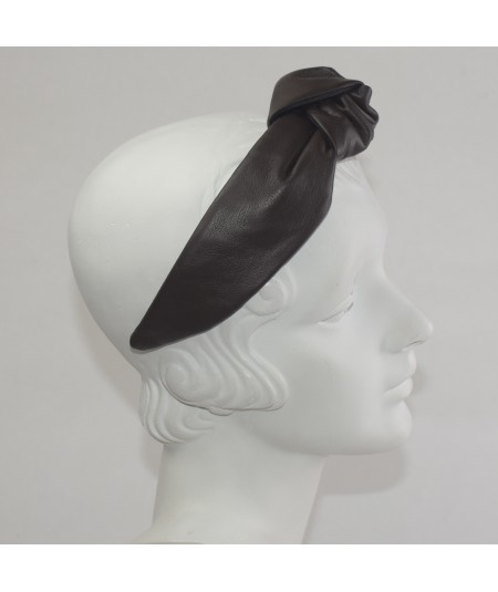 Black Leather Center Chunky Turban Headband