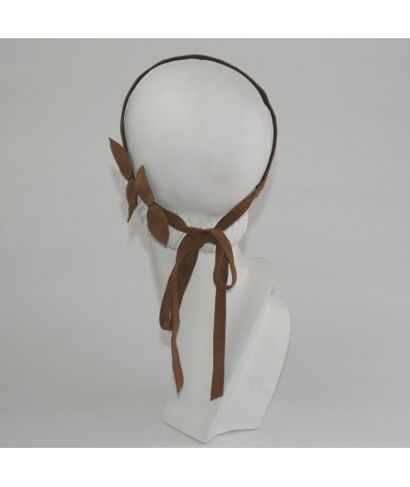 Peanut Suede long Tie with Side Bowtie