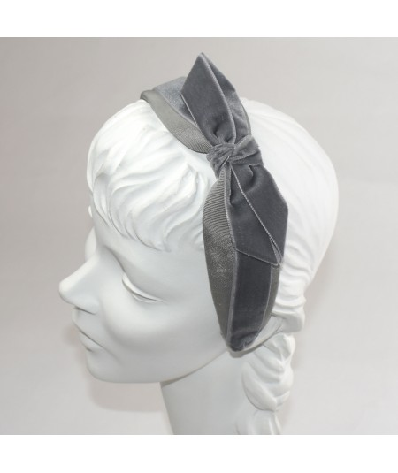 Grey Bengaline & Velvet Side Bow Headband