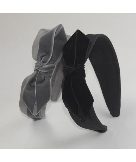 Grey Black Bengaline & Velvet Side Bow Headband