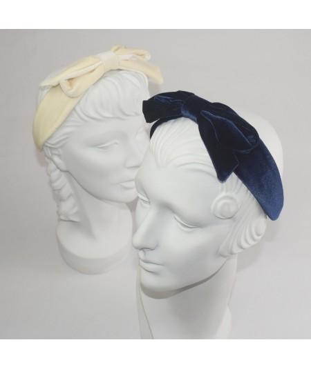 Ivory Navy Velvet Center Bow Headband