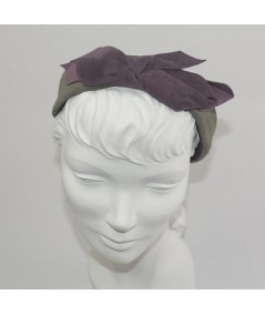 Charcoal with Plum Suede Center Bow Headband