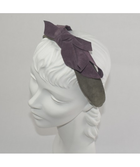 Charocal with Plum Suede Center Bow Headband