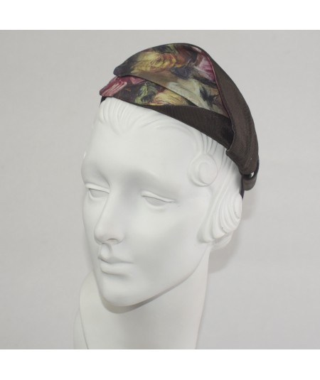 Renaissance Silk Print Abstract Leaves Headpiece
