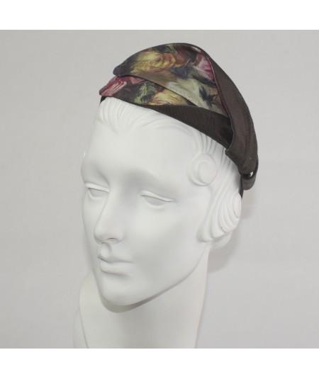 Renaissance Silk Print Abstract Leaves Headpiece