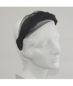 Black Metallic Tulle Twist Headband