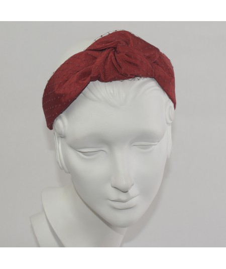 Red Bengaline Covered Black Veiling Chunky Center Knot Headband