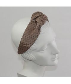 Penut Bengaline Covered Black Veiling Chunky Center Knot Headband