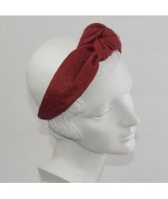 Red Bengaline Covered Penut Veiling Chunky Center Knot Headband
