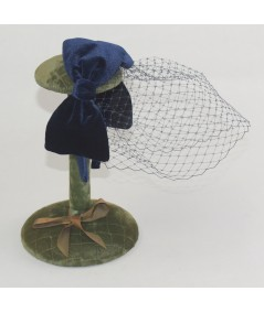 Double Velvet Bow Fascinator Birdcage Face Veil