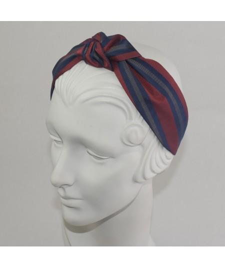 Stripe Silk Print Center Turbann Headband