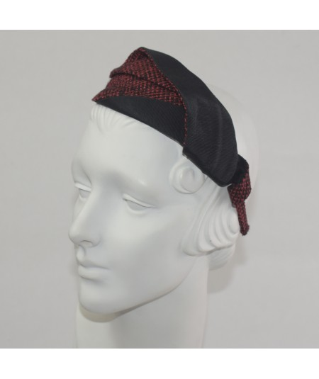 Black Bengaline with Red-Black Silk Print Double Leaves Headband