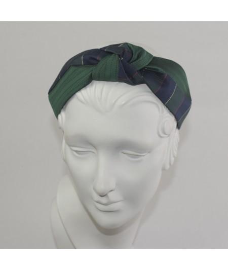 Silk Print Two Tone Center Turban Headband