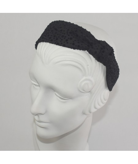 Black Dotted Tulle Side Turban Headband