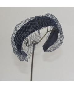 Navy Tonal Velvet Headband with Extra Wide Veiling Knot Turban