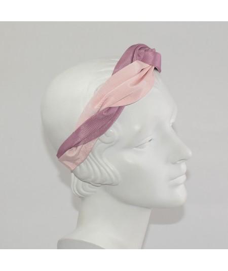 Blush Pale Pink Black Navy Bengaline Two Toned Twist Turban Headband
