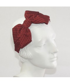 Cardinal Bengaline Covered with Black Veiling Side Bow Headband