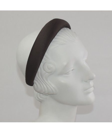 Brown Satin Padded Headband