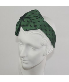 Hunter with Black Dotted Tulle Carolina Bow Headband