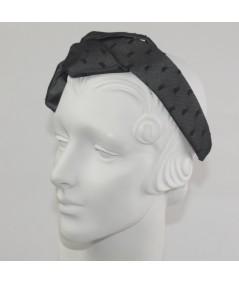 Gunmetal with Black Dotted Tulle Carolina Bow Headband