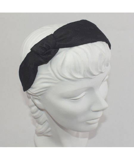 Black With Black Dotted Tulle Side Turban Headband