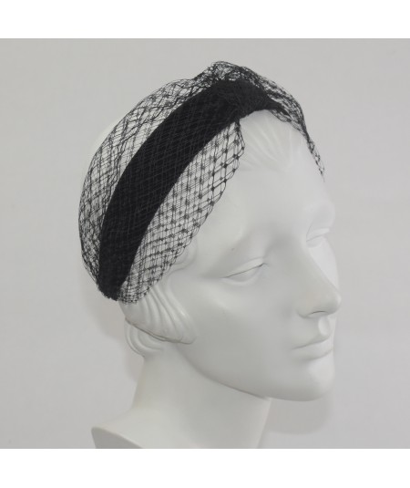Black Tonal Velvet Headband with Extra Wide Veiling Knot Turban