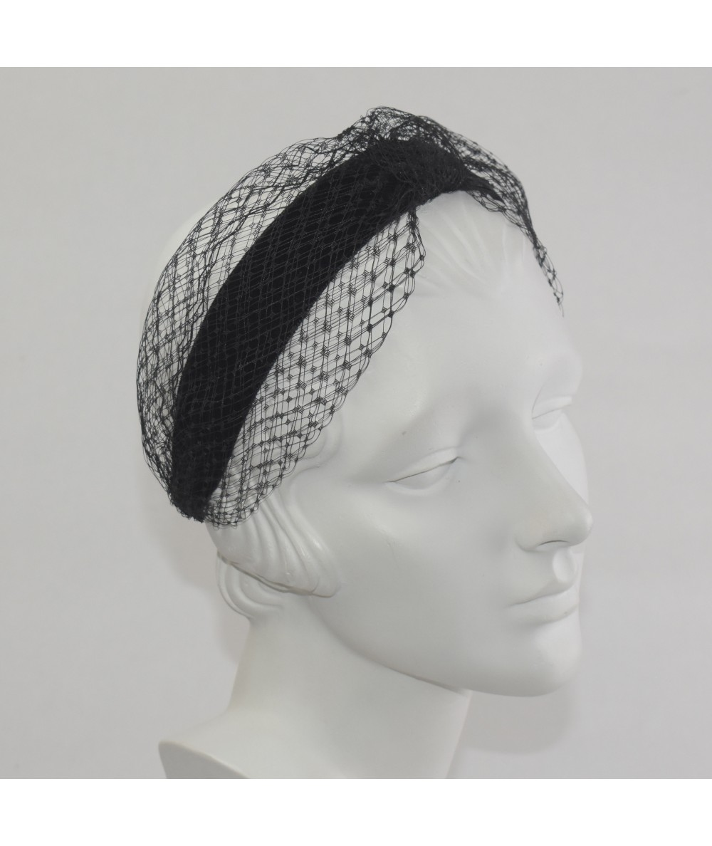 Black Tonal Velvet Headband with Extra Wide Veiling Knot Turban