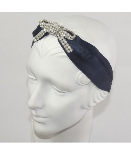 Satin Wide Headband with Center Rhinestone Bow