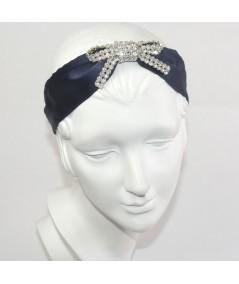 Dark Navy Satin Wide Headband with Center Rhinestone Bow