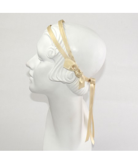 Double Satin Headband with Bow Tie at Nape of Neck