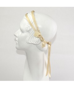 Beige Double Satin Headband with Bow Tie at Nape of Neck