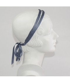 Pigeon Double Satin Headband with Bow Tie at Nape of Neck