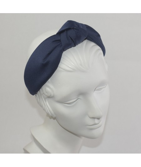 Navy Satin Center Padded Turban Headband