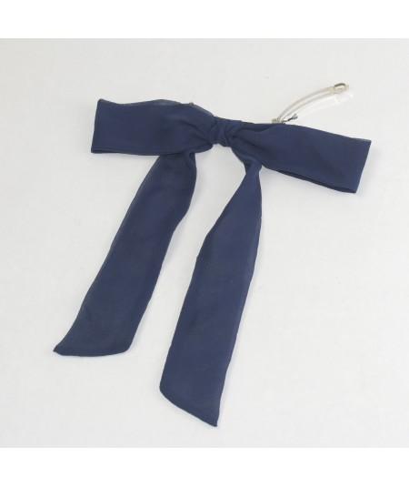 Navy Silk Chiffon Long Bow Barrette