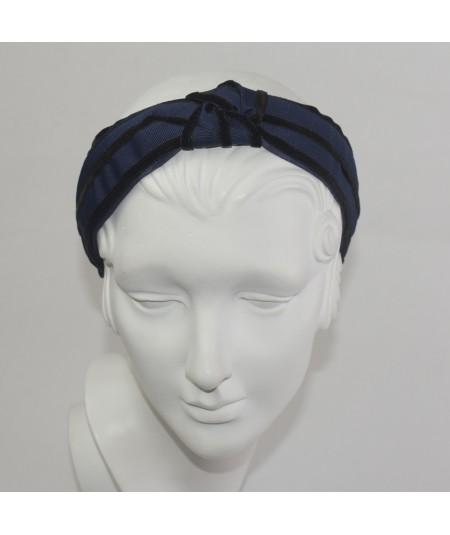 Navy with Black Turban Headband