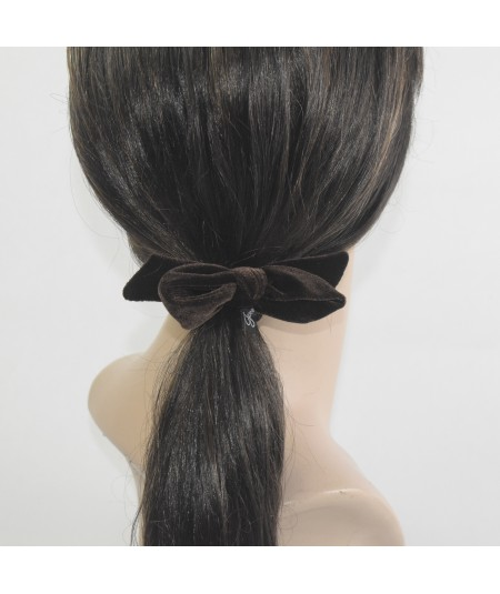 Brown Velvet Fabric Bow Hair Elastic