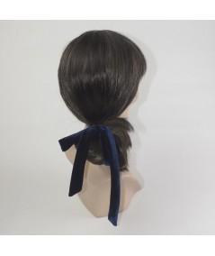 Navy and Black Velvet Floppy Bow Ponytail Ealstic