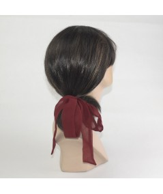 Burgundy Silk Chiffon Long Bow Ponytail Holder