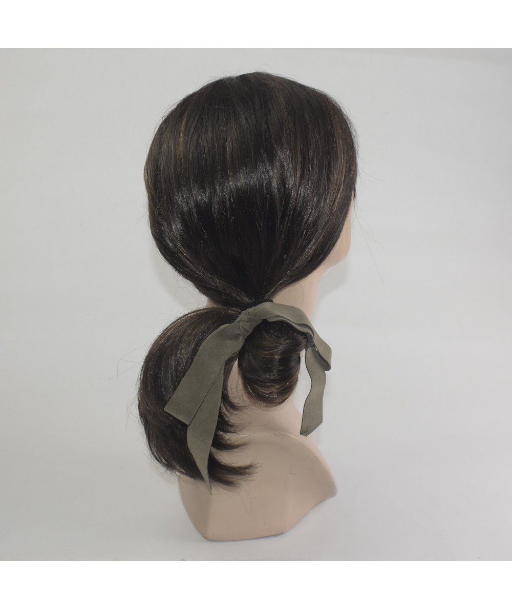Army Suede Large Bow Pony