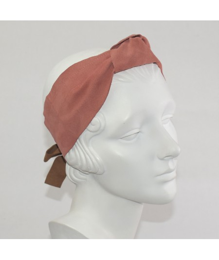 Coral Suede Knot Turban Head Wrap with Peanut Bow at Back