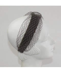 Brown Tonal Velvet Headband with Extra Wide Veiling Knot Turban
