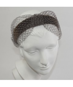 Brown Black Tonal Velvet Headband with Extra Wide Veiling Knot Turban