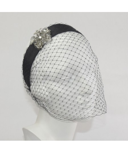 Grosgrain Face Veil with Rhinestone Detail