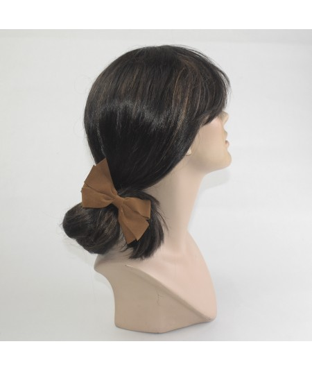 Peanut Suede Double Bow Pony