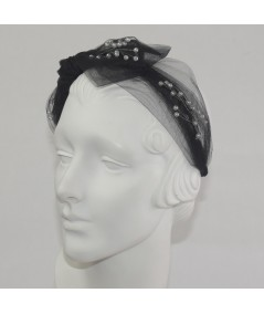 Black Tulle Side Bow Pearls Headband
