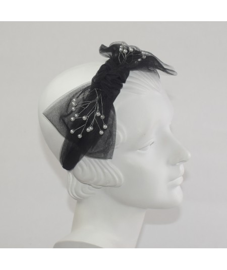 Tulle Side Bow Pearls Headband